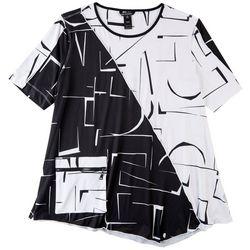 Erin London Womens Asymmetrical Black & White Top