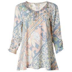 Multiples Womens Floral Studded Mid Sleeve Top
