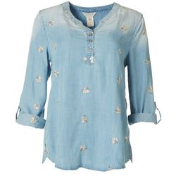 Multiples Womens Roll Cuff Embroidered Mid Sleeve Top