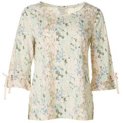 Multiples Womens Floral Tie Sleeved Top