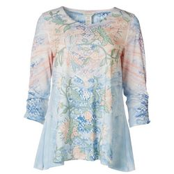 Multiples Womens Floral Embellished Shirt