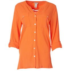 Multiples Women Solid Roll Cuff Button Down Top
