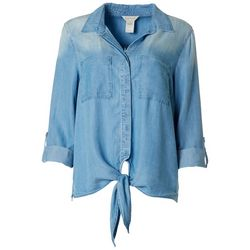 Multiples Womens Roll Cuff Button Down Top