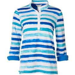Multiples Womens Striped Button Down Top