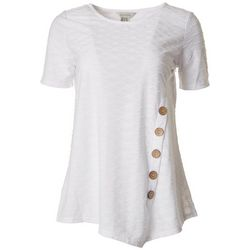 Multiples Womens Button Embellished Short Sleeve Top