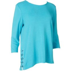 Multiples Womens Lace Embellished Mid Sleeve Blouse