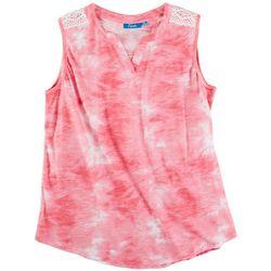 Fresh Womens Tie-Dye Pattern & Lace Shoulder Detail Top
