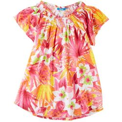 Fresh Womens Smocked Tropical Pattern Top
