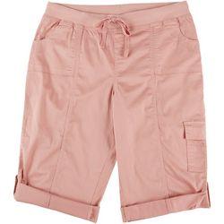 Fresh Womens Solid Pull On Cuffed Hem Shorts