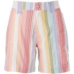 Fresh Womens Rainbow Vertical Stripes Shorts