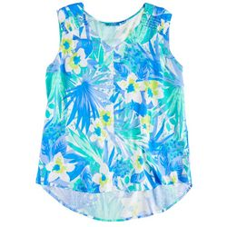 Fresh Womens Blue Tropical Sleeveless Top