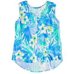 Womens Blue Tropical Sleeveless Top