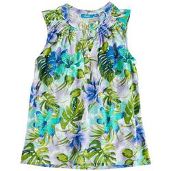 Womens Button Placket Hibiscus Tank Top