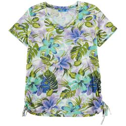 Fresh Womens Floral Scrunched Side Top