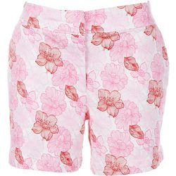 ReCREATION Womens Red And Pink Flowers Shorts