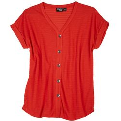 Onque Casual Womens Button Placked Textured Top
