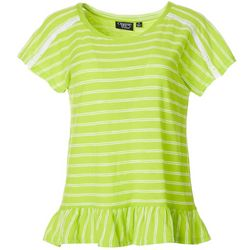 Onque Casual Womens Striped Ruffle Trim Short Sleeve Top