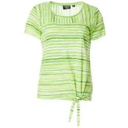 Onque Casual Womens Mixed Stripe Tie Front Top