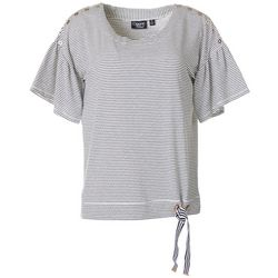 Onque Casual Womens Stripes Tie Front Short Sleeve Top