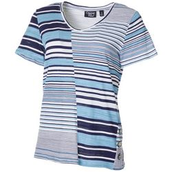 Onque Casual Womens Mixed Stripe V-Neck Short Sleeve Top