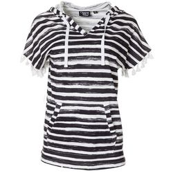 Onque Casual Womens Stripe Print Hooded Short Sleeve Top
