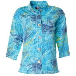 Onque Casual Womens Graphic Button Down 3/4 Sleeve Jacket