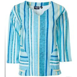 Onque Womens Striped V-Neck Tunic Top