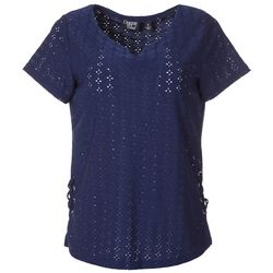 Onque Casual Womens Eyelet Split Neckline Short Sleeve Top