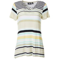 Onque Casual Womens Stripe Lace Up V-Neck Short Sleeve Top