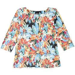 Onque Womens Tropical Print 3/4 Sleeve Top