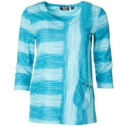 Onque Casual Womens Pocketed Mid Sleeve Top