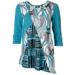 Onque Casual Womens Pattern Block Mid Sleeve Top
