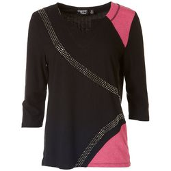 Onque Womens Rhinestone Embellished Colorblock Top