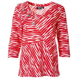 Onque Womens Textured Zebra Button Top