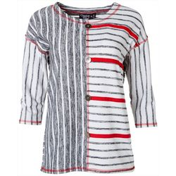 Onque Casual Womens Abstract Striped Tunic Top