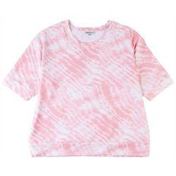 Sportelle Womens Wide Cew Neck Pink Zebra Top