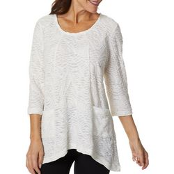 Thomas & Olivia Womens Textured Solid Tunic Top
