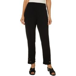 Onque Casual Womens Solid Grommet Embellished Hem Pants