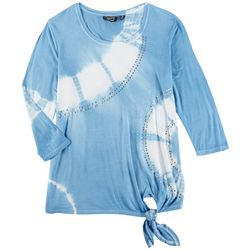 Onque Casual Womens Tye Dye Sequin 3/4 Sleeve Top