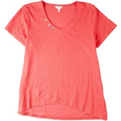 Coral Bay Womens Textured Short Sleeve Top