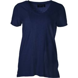 Onque Casual Womens Textured Stripe V-Neck Top