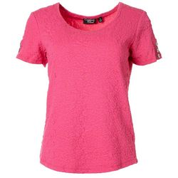 Onque Casual Womens Solid Textured Button Top