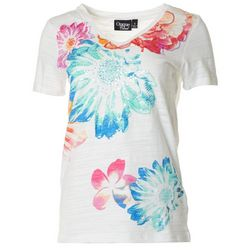 Onque Casual Womens Floral Sequin Short Sleeve Top
