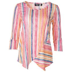 Onque Casual Womens Button Striped Spring Top