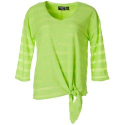 Coral Bay Womens Solid Textured Stripe Tie Front V-Neck Top