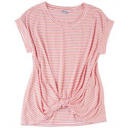 Sportelle Womens Knotted Striped Knit Top