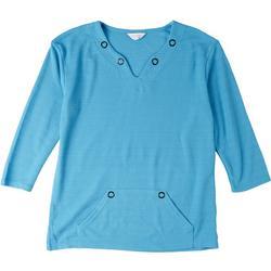 Womens Textured 3/4 Sleeve Split Neck Top