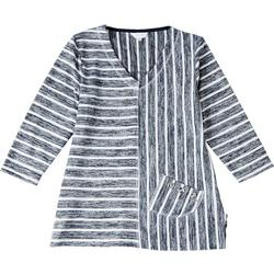 Womens Striped With Pocket Detail 3/4 Sleeve Top