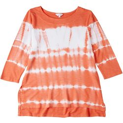 Coral Bay Womens Tie Dye 3/4 Sleeve Blouse