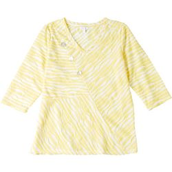 Coral Bay Womens Striped Button Detail 3/4 Sleeve